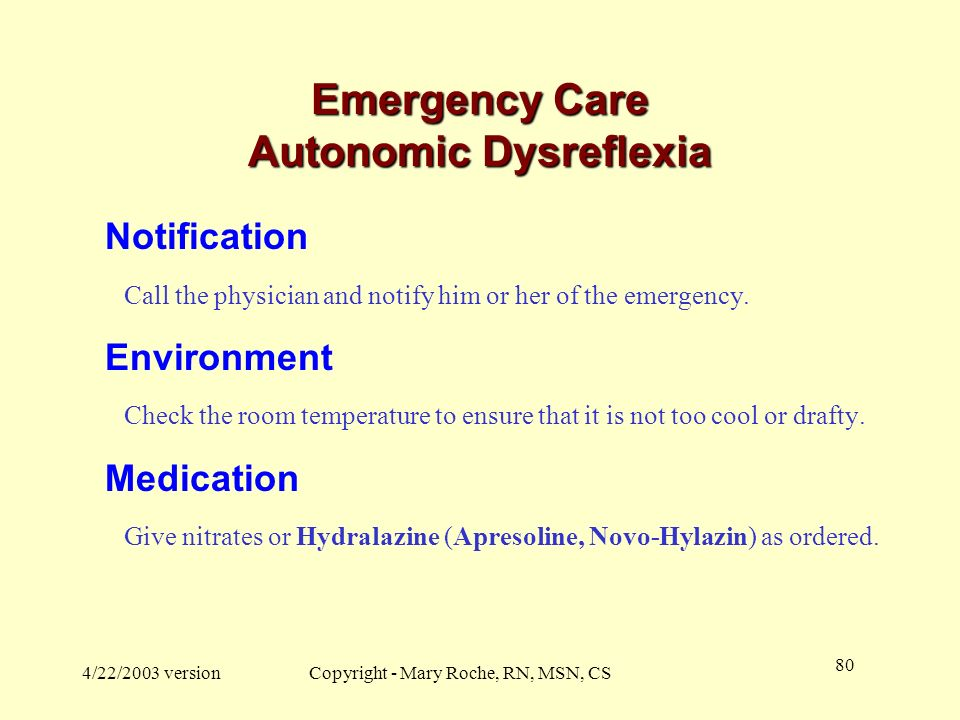 Emergency Care Autonomic Dysreflexia