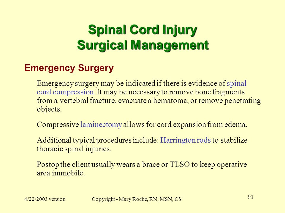 Spinal Cord Injury Surgical Management