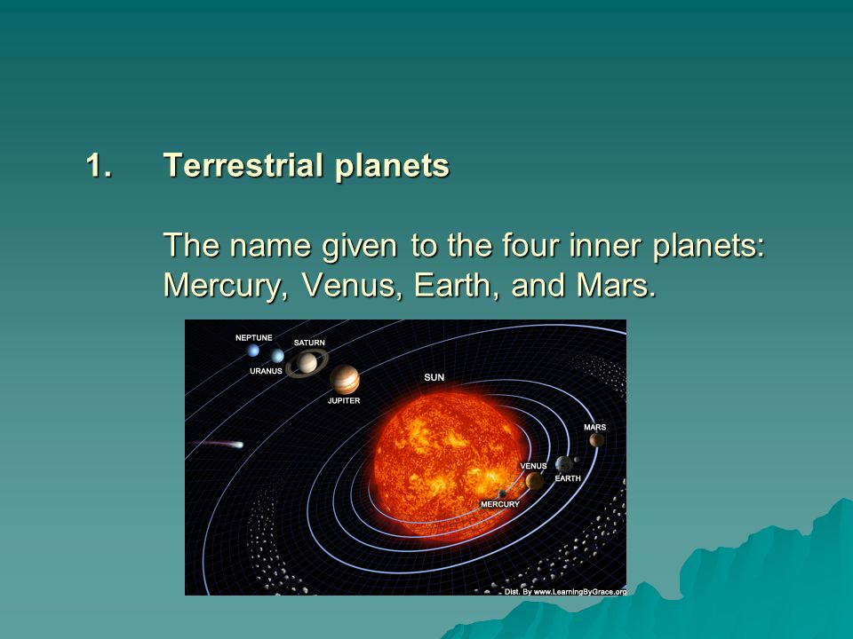 Terrestrial planets The name given to the four inner planets: Mercury, Venus, Earth, and Mars.