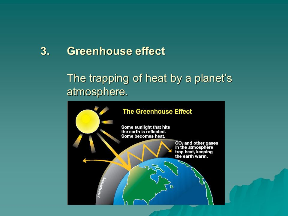 3. Greenhouse effect The trapping of heat by a planet's atmosphere.