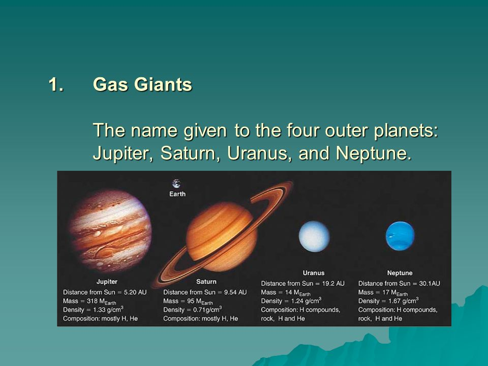 Gas Giants The name given to the four outer planets: Jupiter, Saturn, Uranus, and Neptune.
