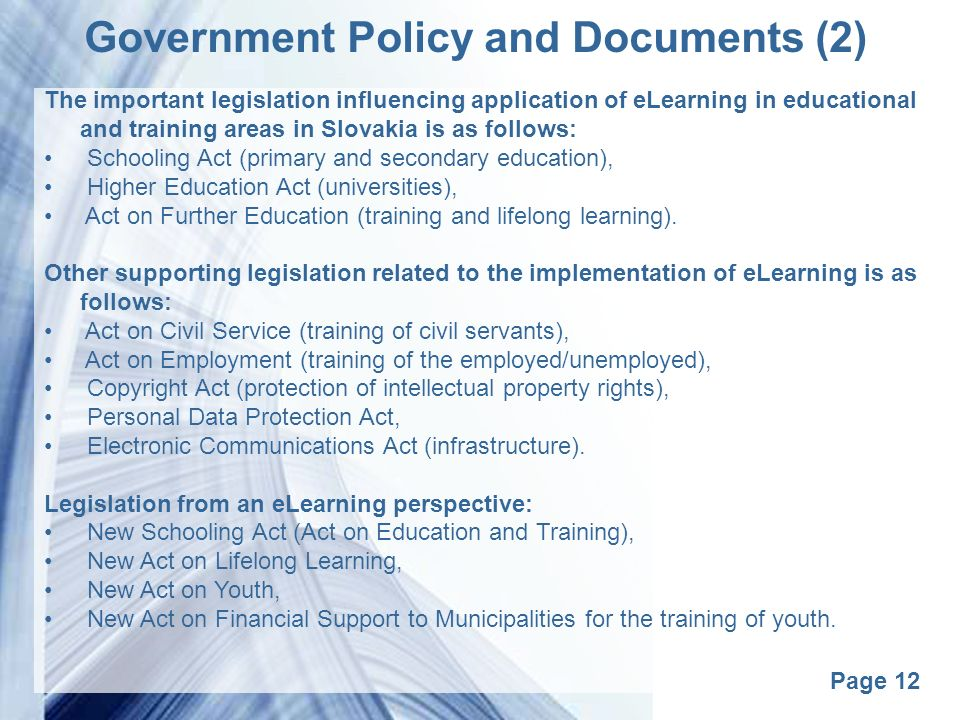 e learning for lifelong learning in slovakia ppt video With government policy documents