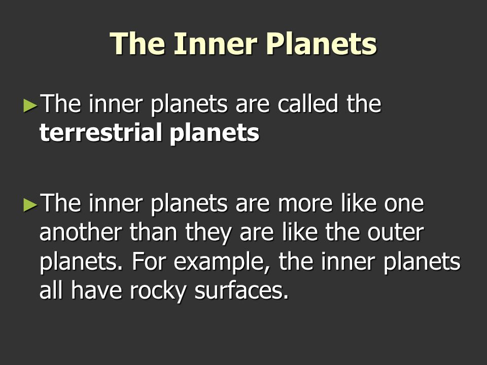 an analysis of the inner terrestrial planet The geology of solar terrestrial planets mainly deals with the  the term inner planet should not be  analysis of the soil samples collected by the.