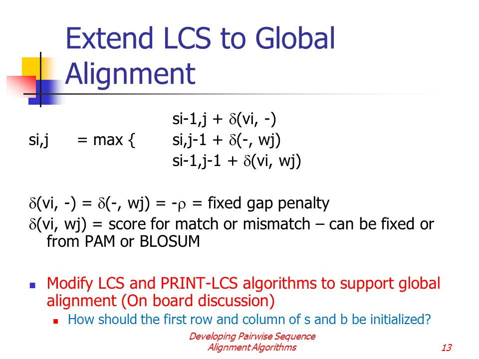Extend LCS to Global Alignment