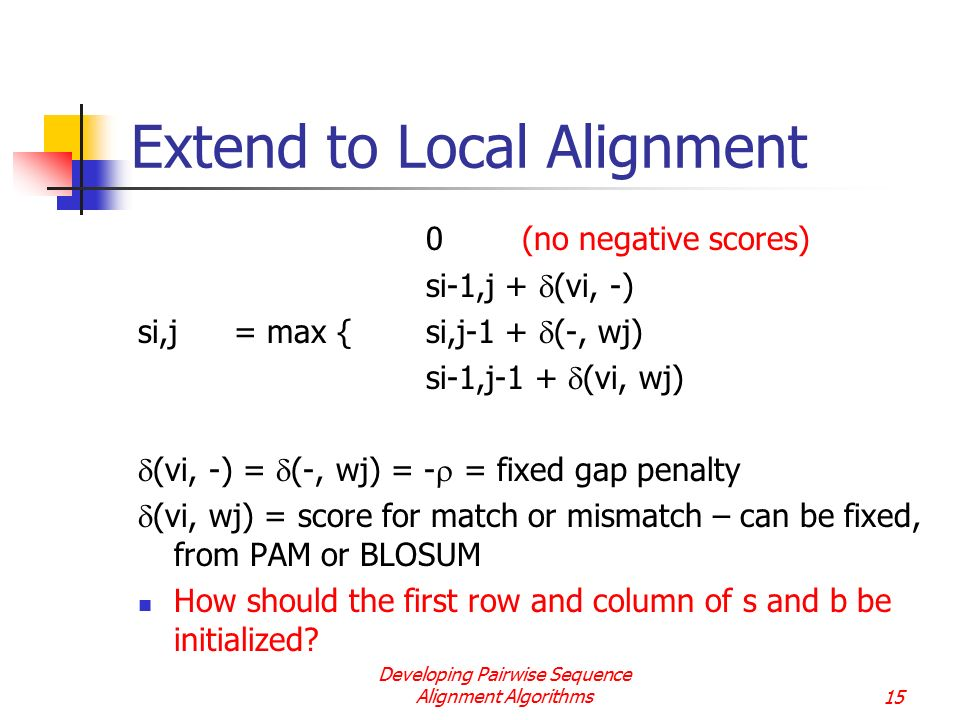 Extend to Local Alignment