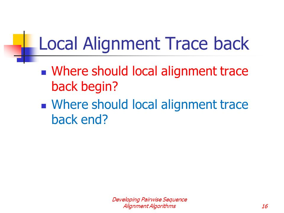 Local Alignment Trace back