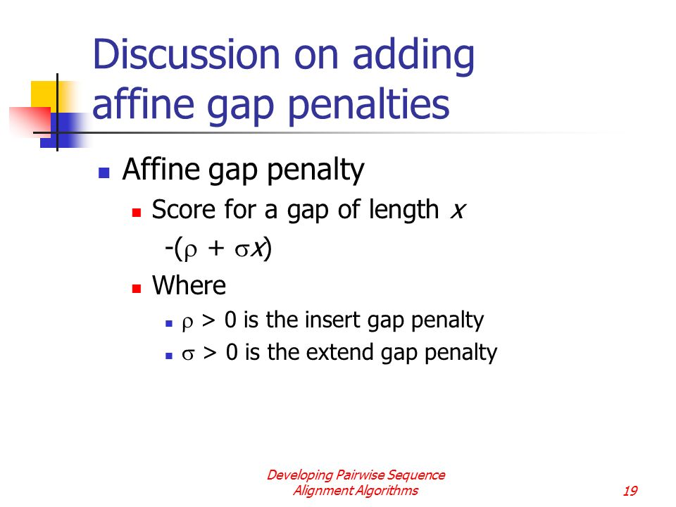 Discussion on adding affine gap penalties