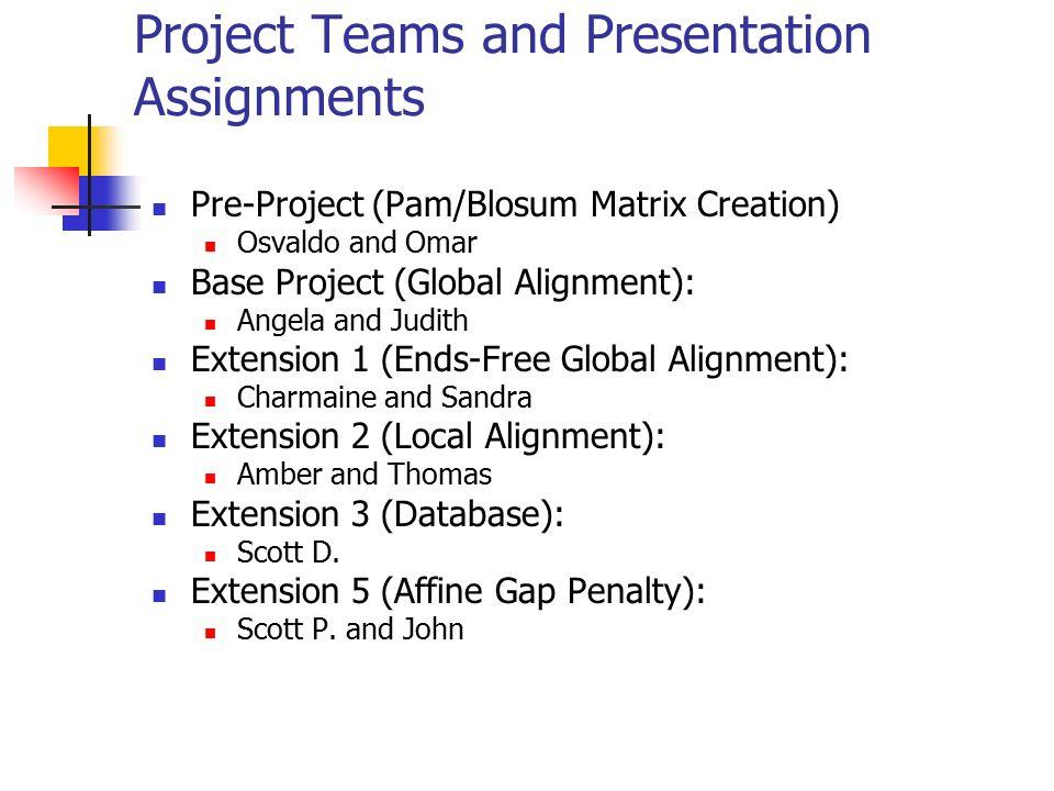 Project Teams and Presentation Assignments