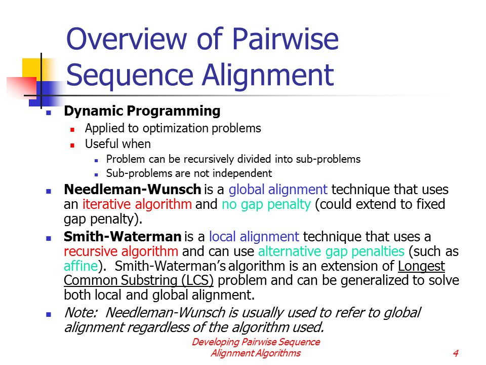 Overview of Pairwise Sequence Alignment