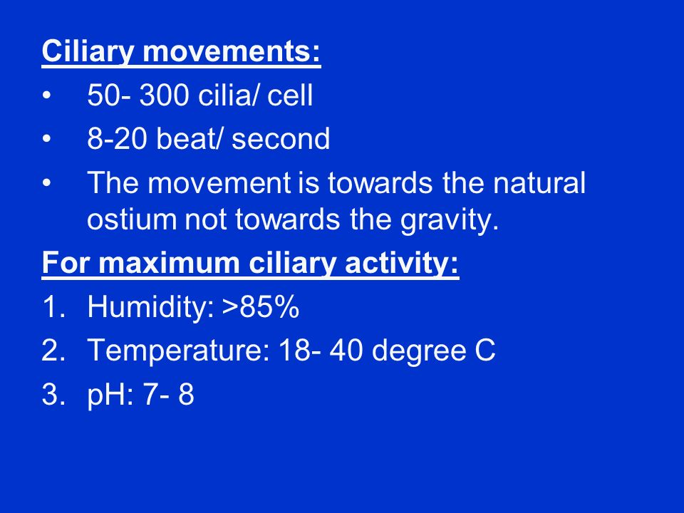 Ciliary movements: cilia/ cell beat/ second. The movement is towards the natural ostium not towards the gravity.