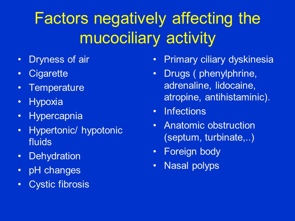 Factors negatively affecting the mucociliary activity