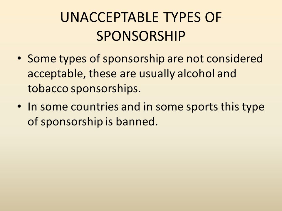 alcohol and tobacco sponsorship in sport Sponsorship within sport is a necessity for the existence of any sport program, from grassroots to professional levels, sponsorship has an enormous effect on the operation and success of sport programs sponsorship by the tobacco, alcohol, and fast food industries in sport is a topic where ethical .