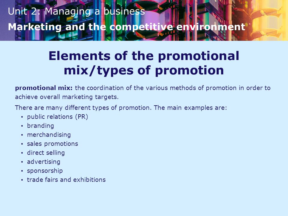 categories of a promotional mix In marketing, the promotional mix describes a blend of promotional variables chosen by marketers to help a firm reach its goals it has been identified as a subset of.