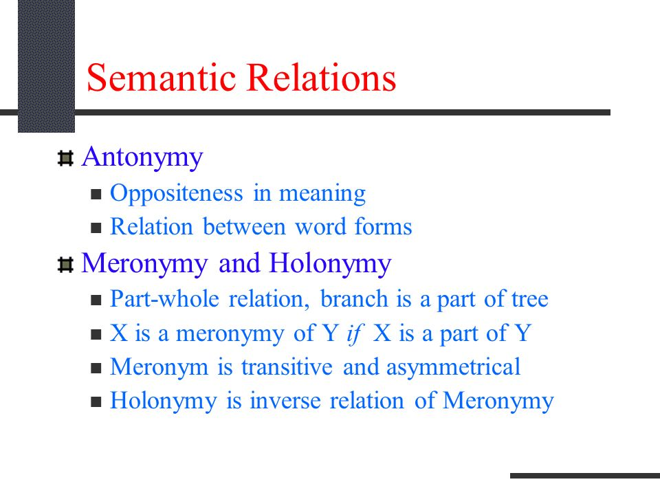 part whole relationship in semantics a word