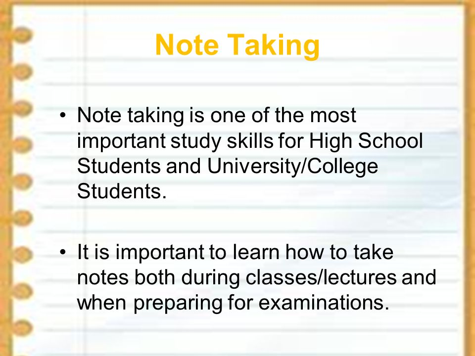 importance of note taking at a In this article, i would like to explain about the importance of note making notes help us to remember important points and also help us to refresh our memory while preparing for exams, debates, preparing essays and so on.
