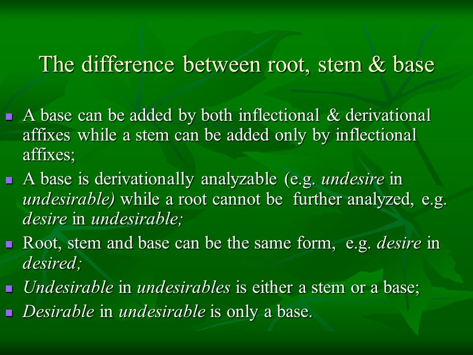 The difference between root, stem & base
