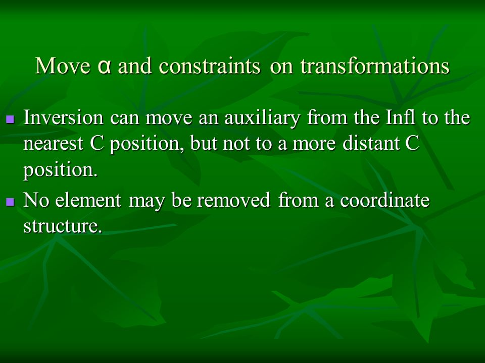 Move α and constraints on transformations