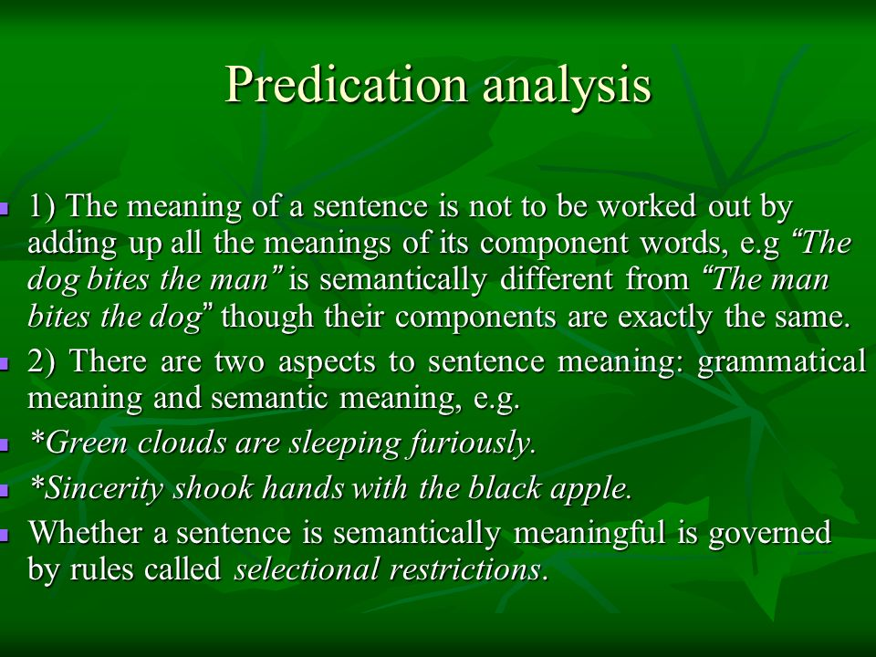 Predication analysis