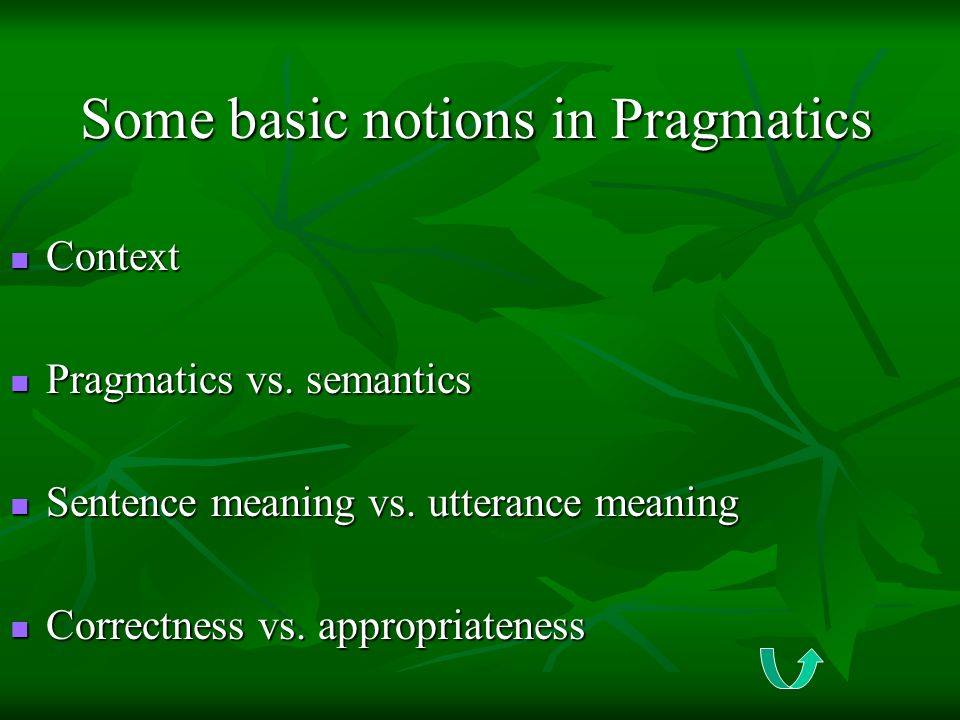 Some basic notions in Pragmatics