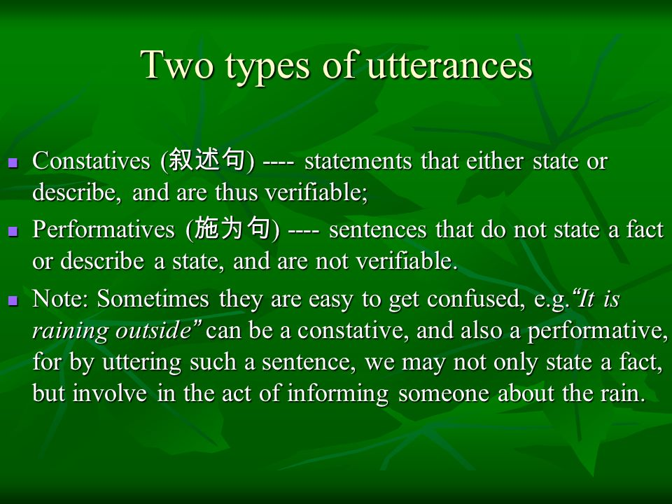 Two types of utterances