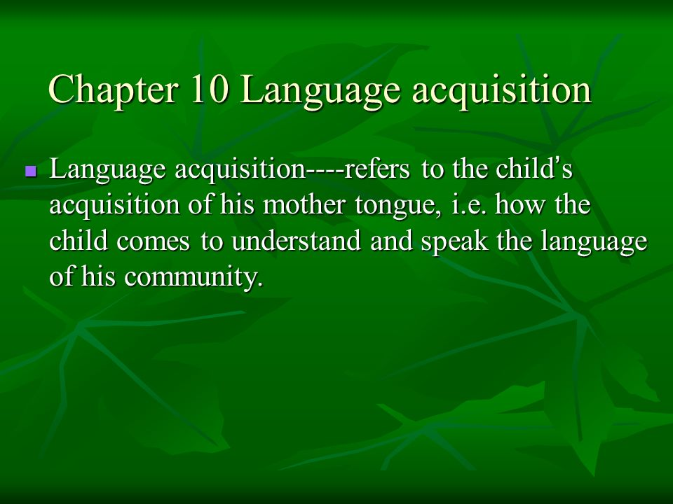 Chapter 10 Language acquisition