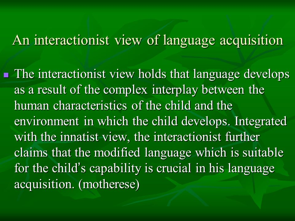 An interactionist view of language acquisition