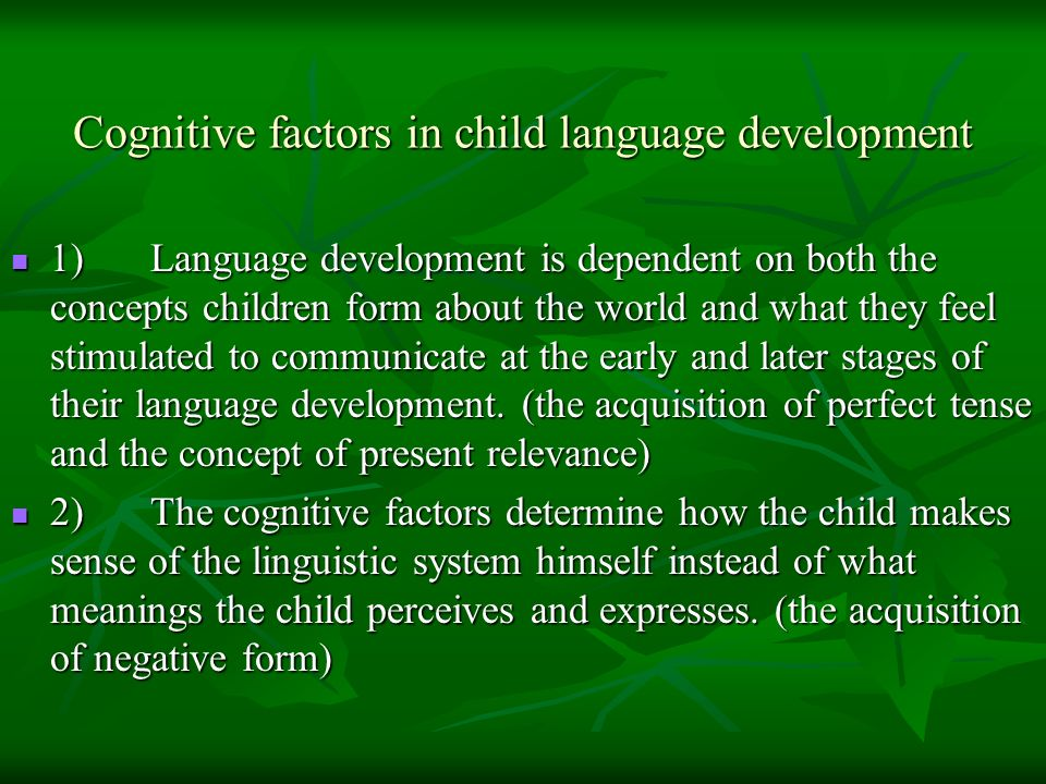 Cognitive factors in child language development