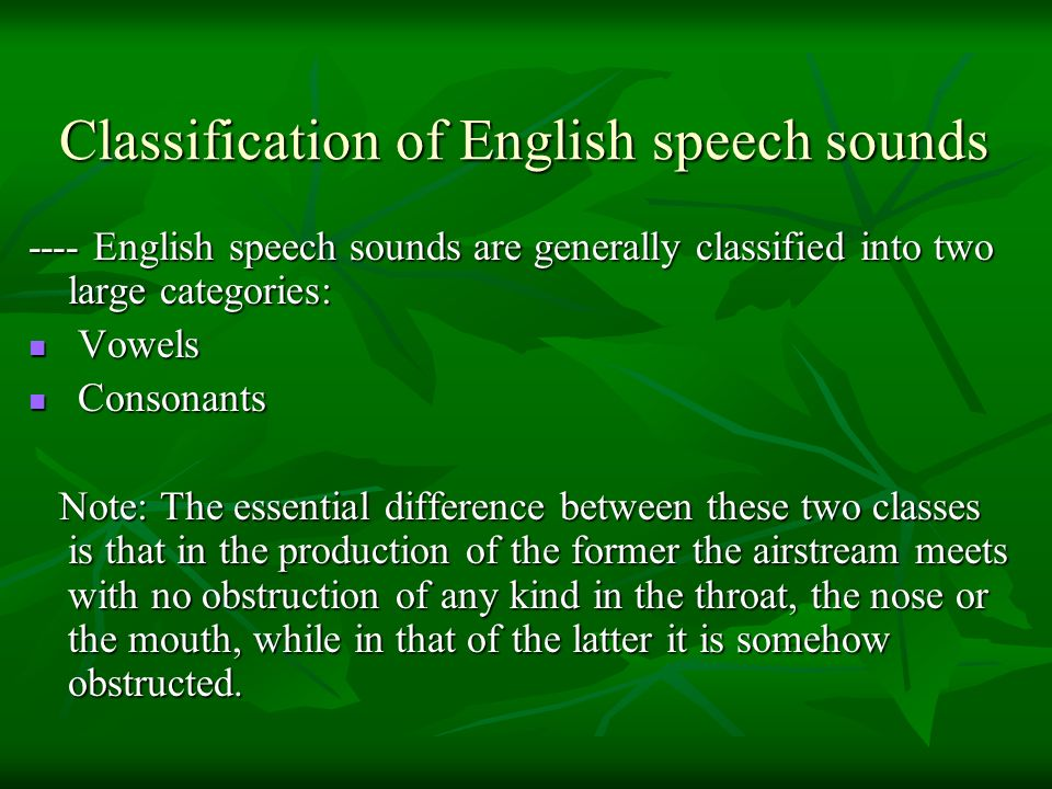 Classification of English speech sounds