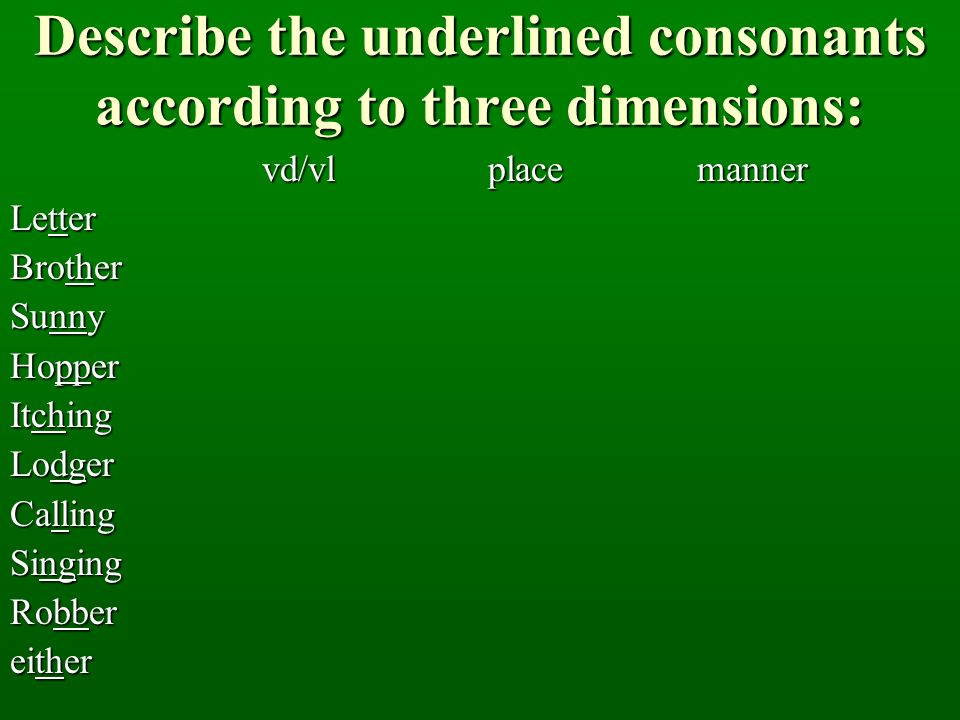 Describe the underlined consonants according to three dimensions: