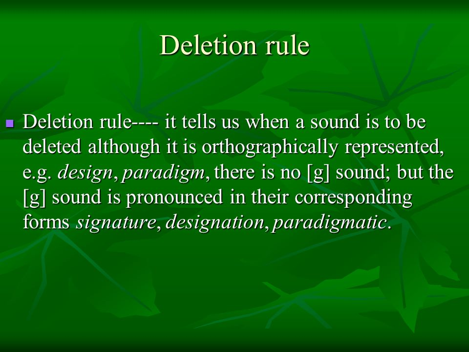 Deletion rule