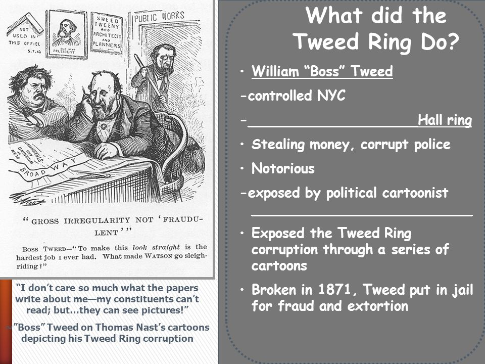 the tweed ring The tweed ring was depicted as a group of vultures by cartoonist thomas nast in harper's weekly on sept 23, 1871.