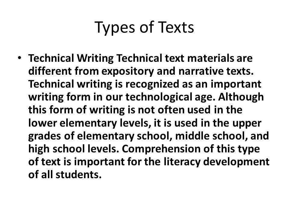 types of technical writing Technical writing examples are a great way to get an understanding of this type of writing technical writing refers to a type of writing where the author outlines the details and operations of administrative, technical, mechanical, or scientific systems.
