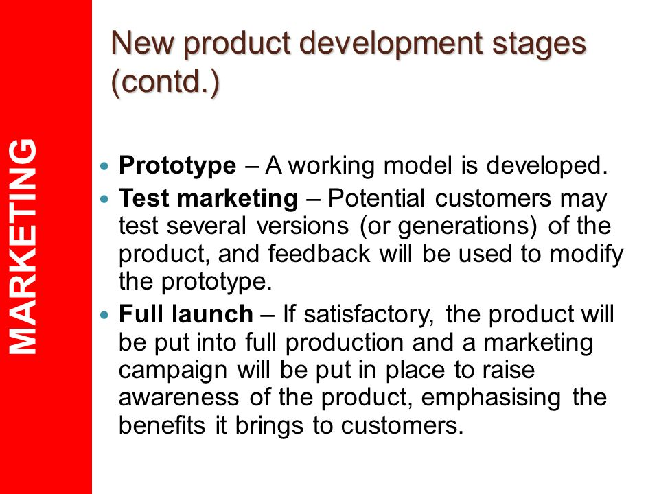 the stages in the new product The traditional process of developing new products product design & development refine product specifications: in this stage, product specifications are refined on the basis of input from the foregoing activities.
