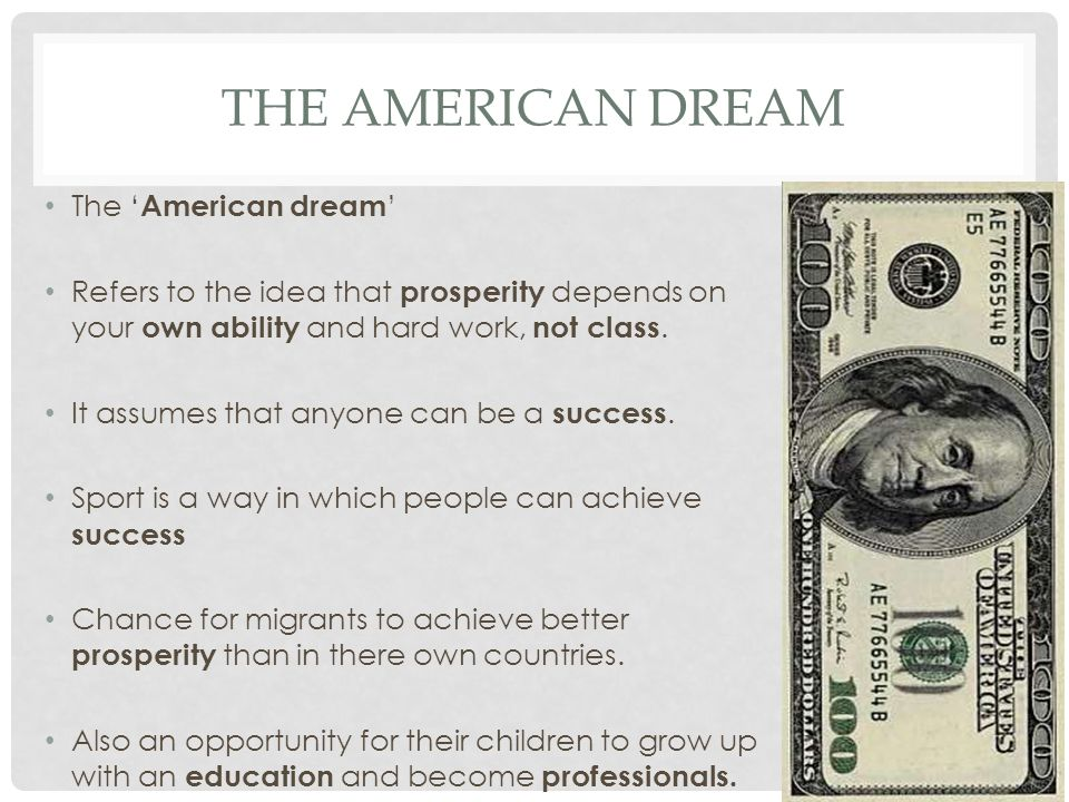 american dream is the ability to Rising income inequality has eroded the ability for american children to grow up  to earn more than their parents, according to a new study from.