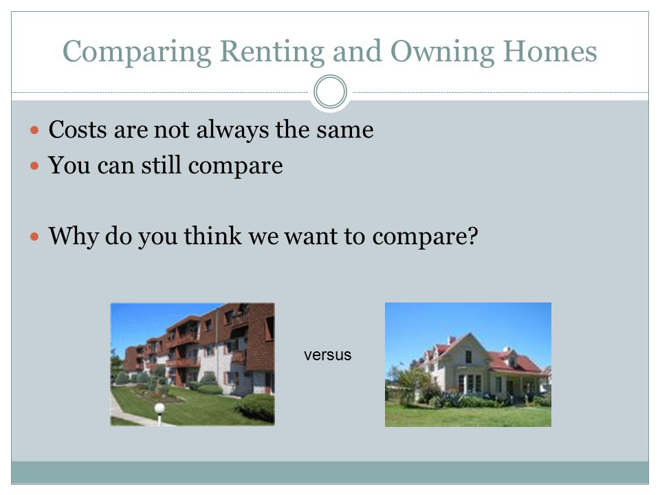 Comparing Renting and Owning Homes