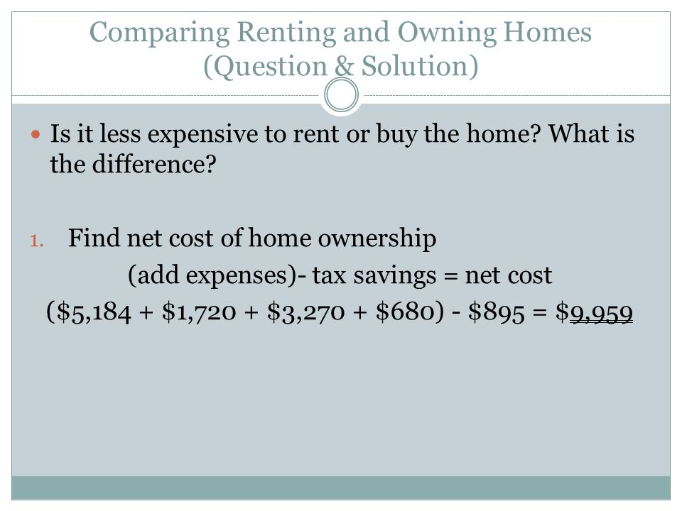 Comparing Renting and Owning Homes (Question & Solution)
