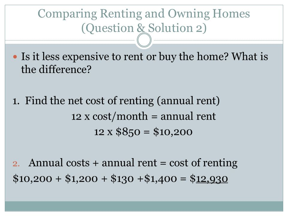 Comparing Renting and Owning Homes (Question & Solution 2)