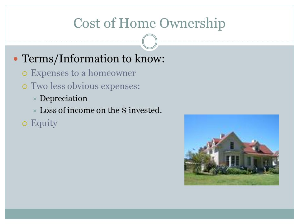 Cost of Home Ownership Terms/Information to know: