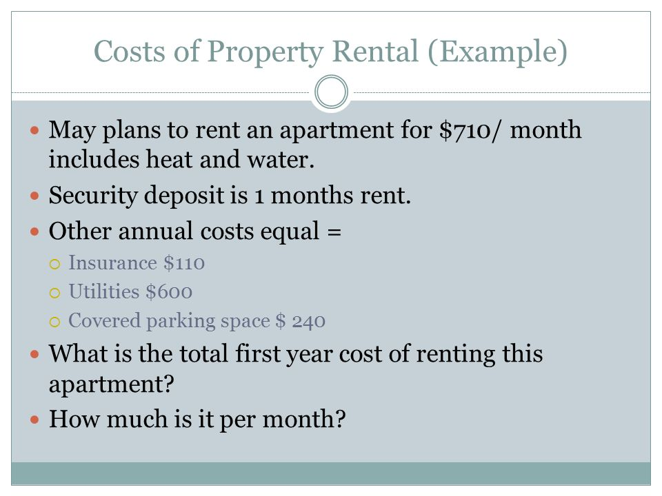 Costs of Property Rental (Example)