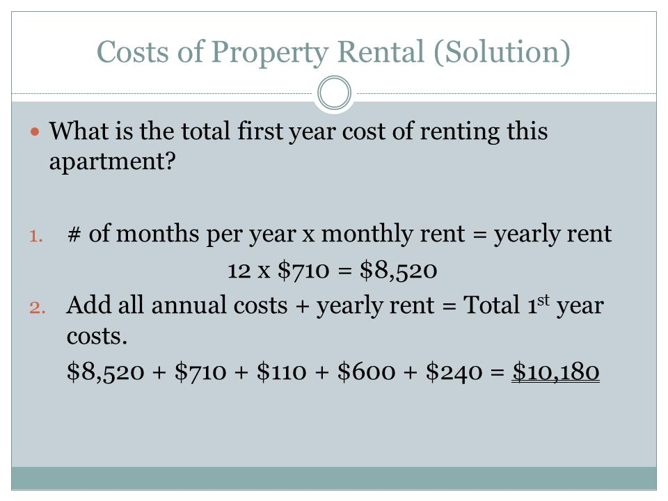rent yearly rent 12 x 710 8 520 add all annual costs yearly