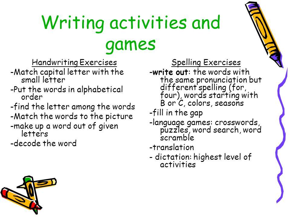 Online writing exercises