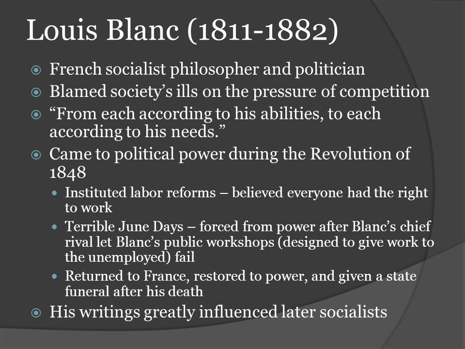 Louis Blanc (1811-1882) French socialist philosopher and politician