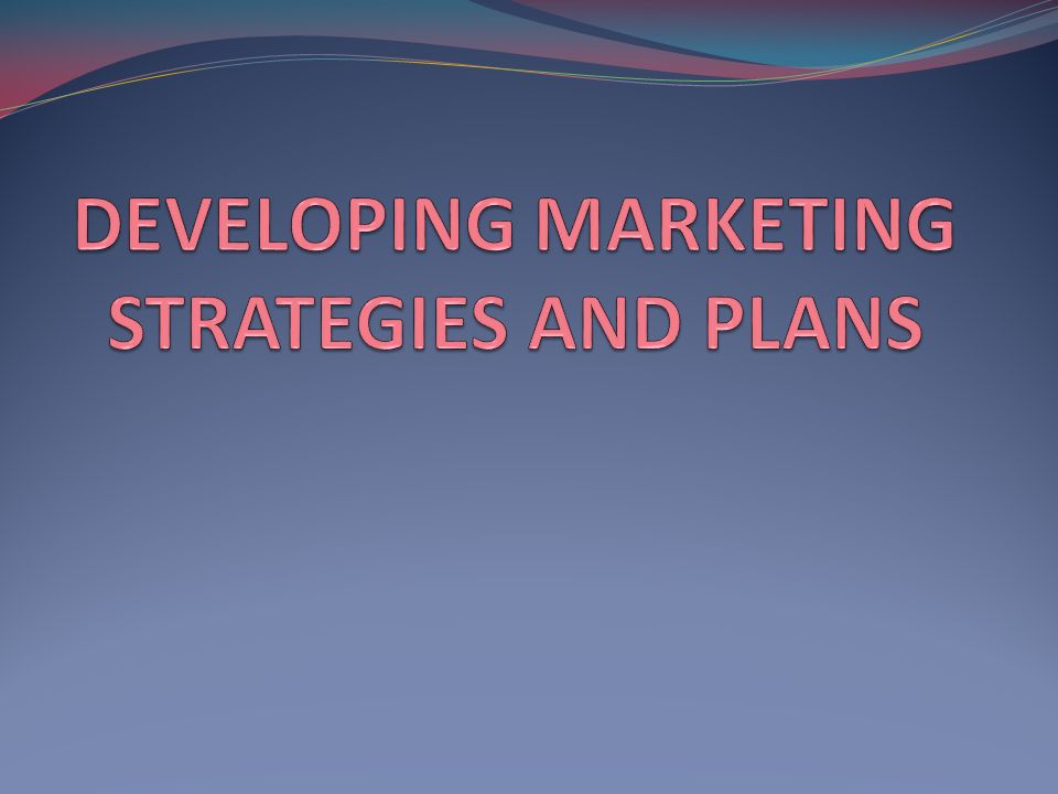 developing marketing strategies and plans pdf