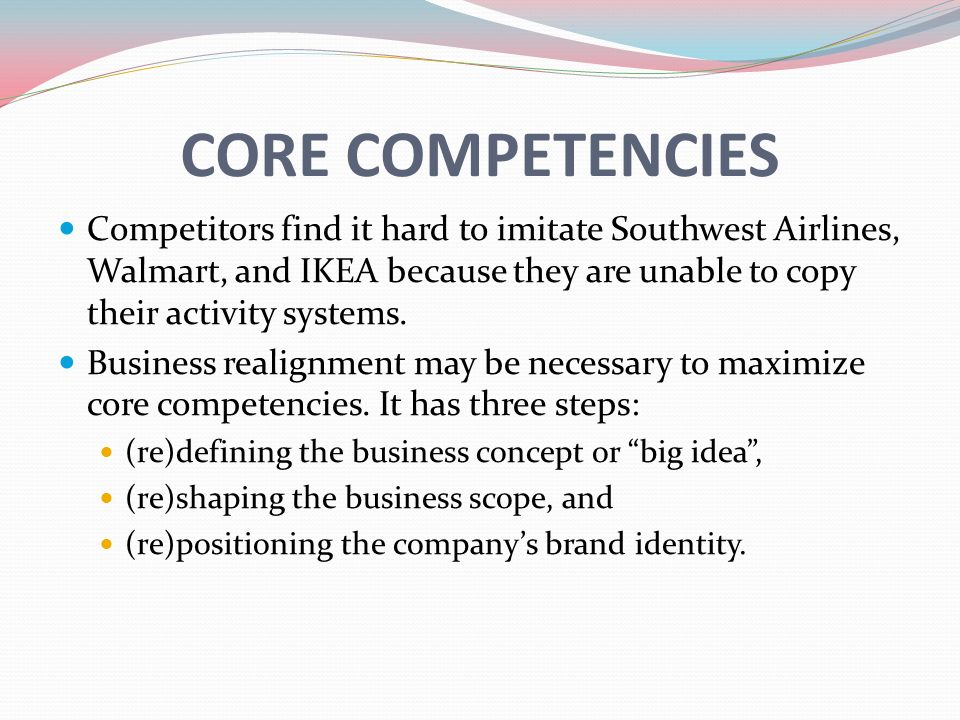 southwest airlines core competencies What resources, capabilities and core identify competencies and capabilities that  the assignment questions southwest airlines in singapore airlines limited: us's.
