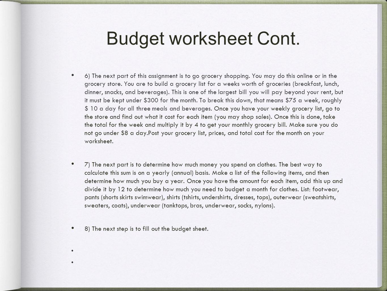 online budget sheet