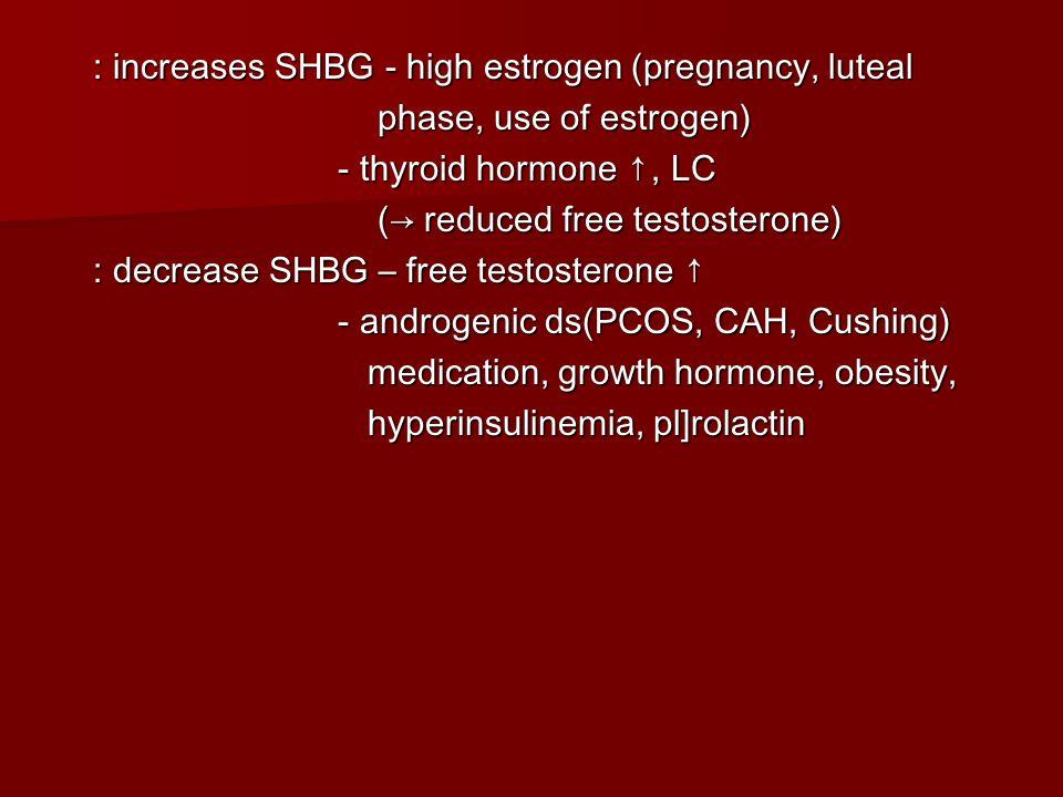 : increases SHBG - high estrogen (pregnancy, luteal