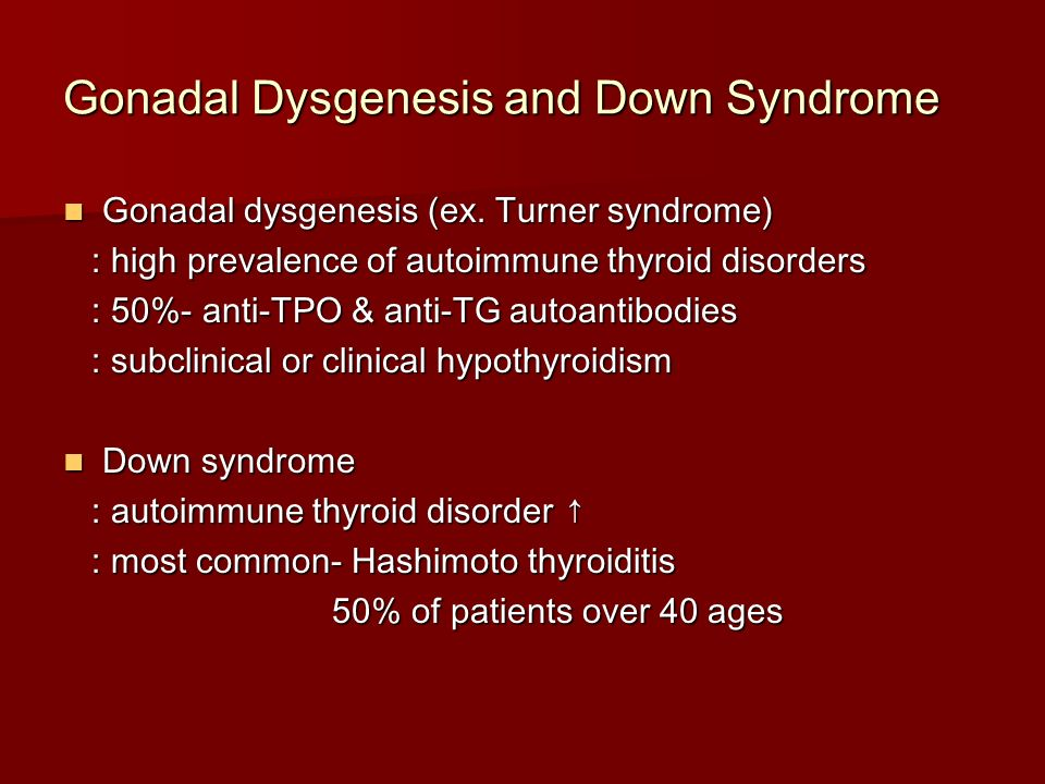 Gonadal Dysgenesis and Down Syndrome