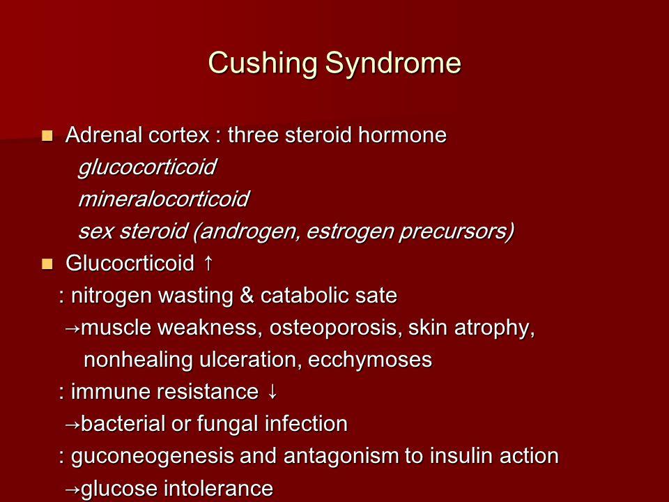 Cushing Syndrome Adrenal cortex : three steroid hormone glucocorticoid