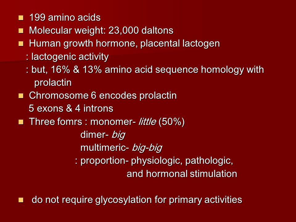 199 amino acids Molecular weight: 23,000 daltons. Human growth hormone, placental lactogen. : lactogenic activity.