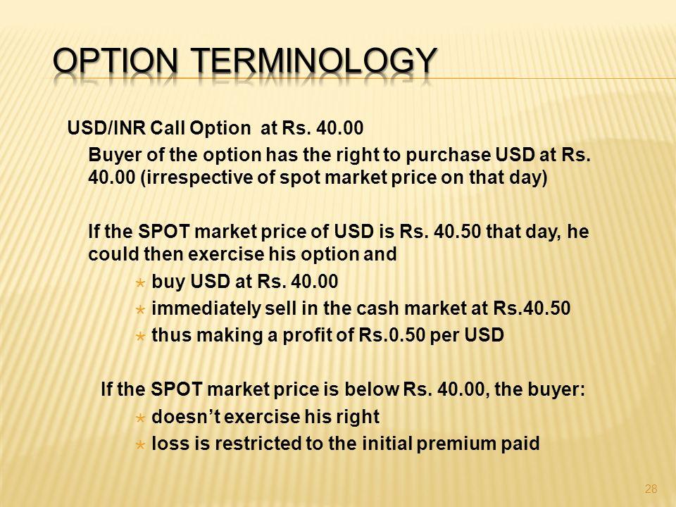 Option trade terminology